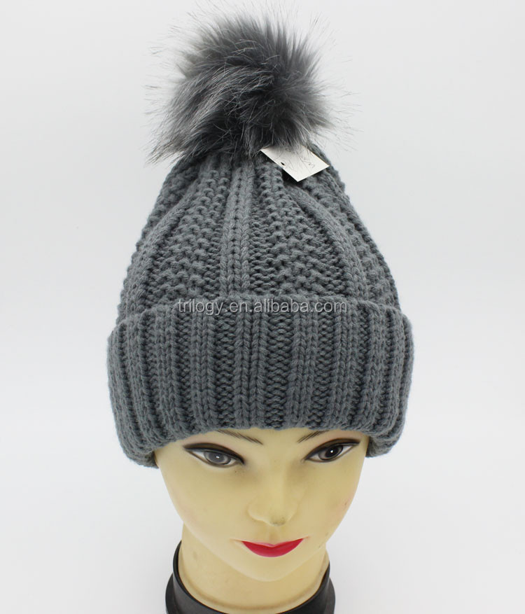Thick Thread Girls Crochet Beanie Hat Ladies Winter Out Door Sport Hat