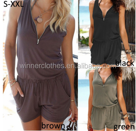 2017 Fashion Beach Casual Rompers V-neck Fashion Sleeveless Zipper Slim Woman's Jumpsuit apparel dress