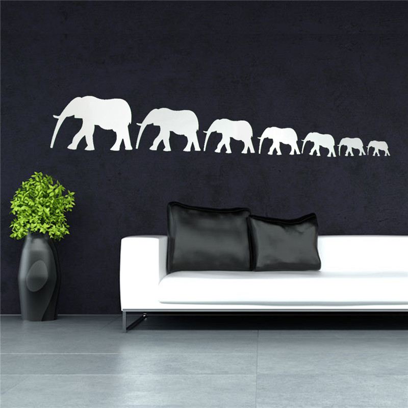 Good Quality DIY Mirror Cute Elephants Wall Stickers Home Decor Art Decal Acrylic Adhesive Stickers