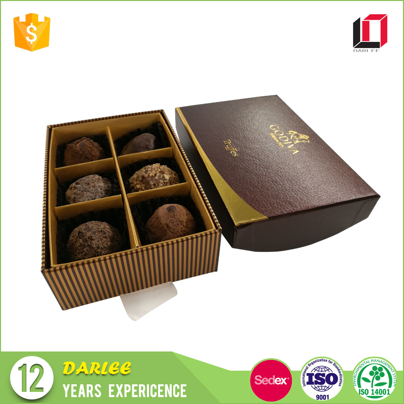 Chinese factory custom made embossed paper packaging chocolate box suppliers