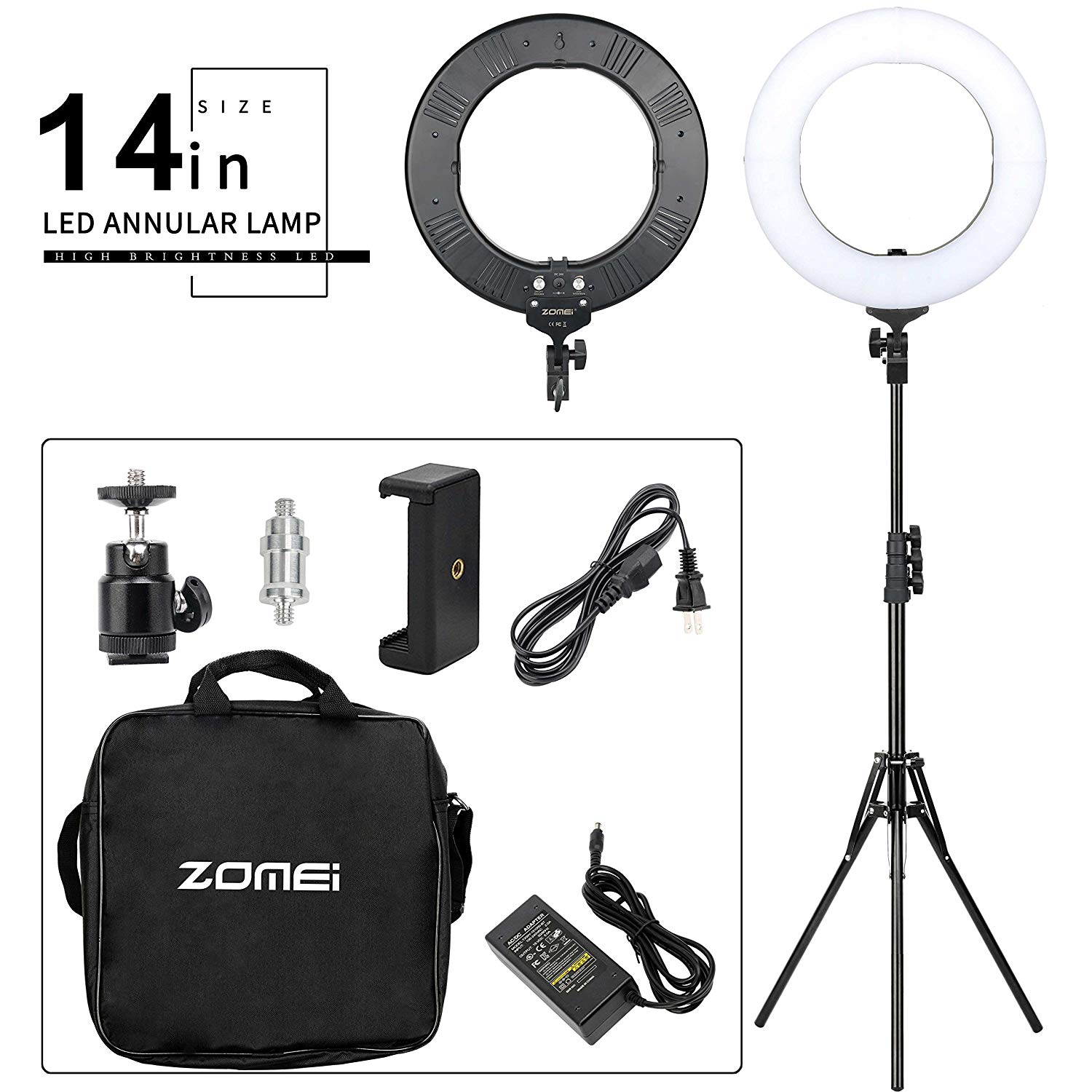 ZOMEI 14-inch Bi-Color Stepless Dimmable LED Ring Light Kit with Stand 41W 5500K Output Hot Shoe Adapter for Outdoor Shooting Live Streaming Make up and YouTube Video