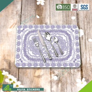 eco-friendly kitchen advertising colorful promotional printed pp wicker place mats