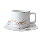 Noble white color gold plated personalized coffee ceramic cup saucer