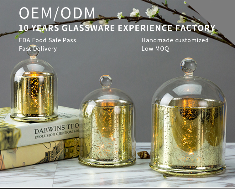 Wholesale Luxury Electroplated Cloche Dome Crystal Glass Candle Glass Jar with Glass Lid