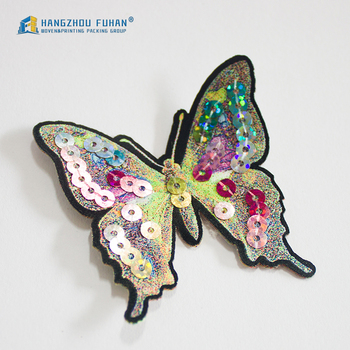 799eedf87 Customized Sequin Embroidery Butterfly Badge With Iron-on Backing ...