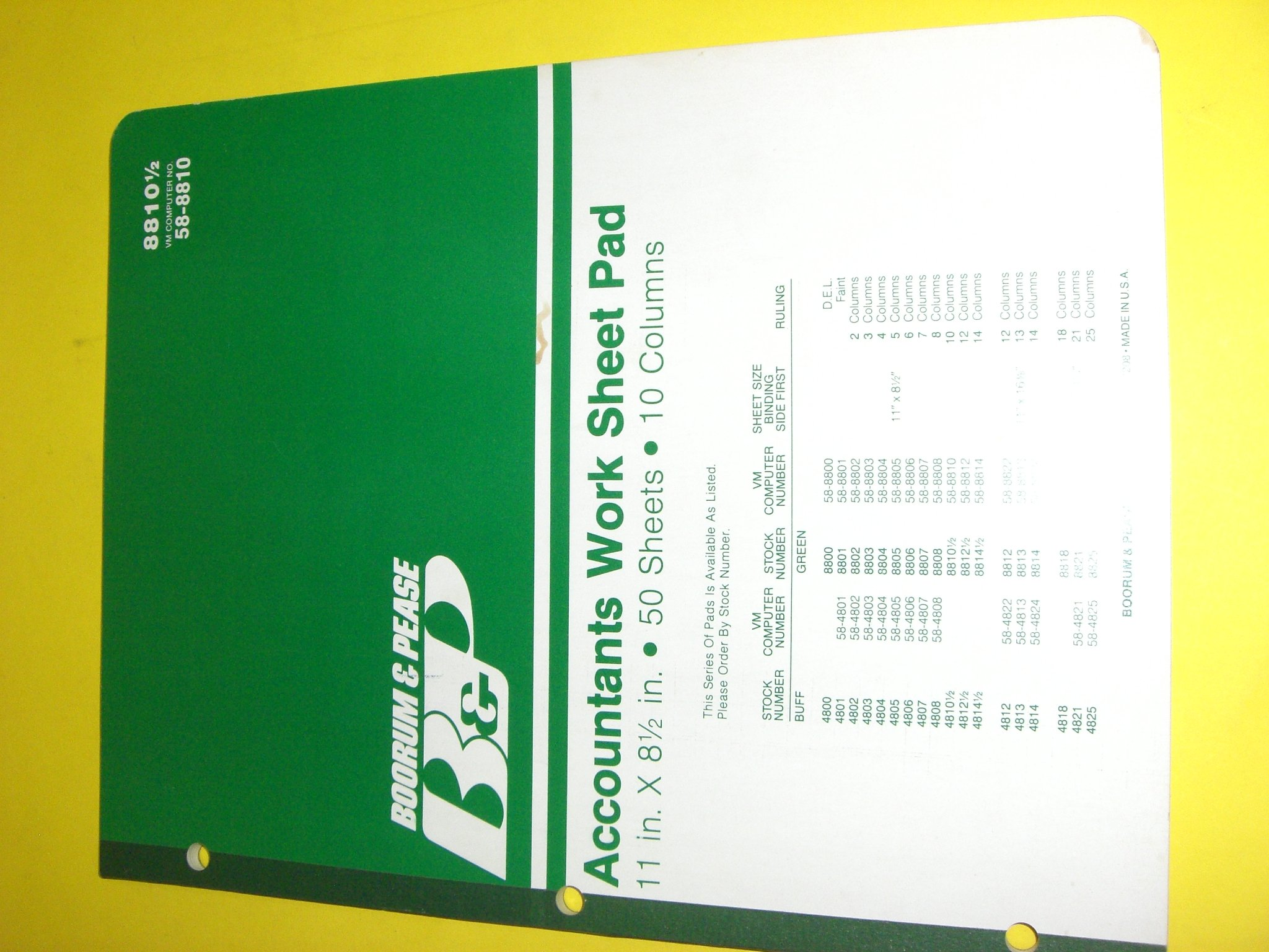 """Boorum Pease, Accountants Work Sheet Pad, 11"""" x 8 1/2"""", 50 Sheets, 10 Columns, 8810 1/2, Can Substitute With Boorum Pease 82490 or National Brand 45-210"""