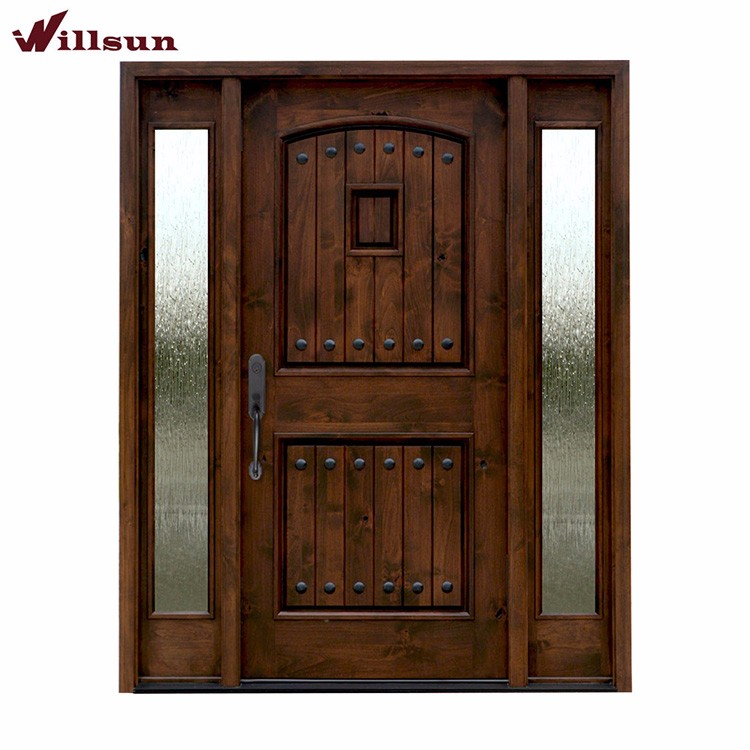 Double Sidelights Design Doors Front Entry Glass Insert Solid Wood