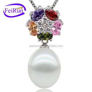 flower shape nice quality 925silver pearl pendant designs