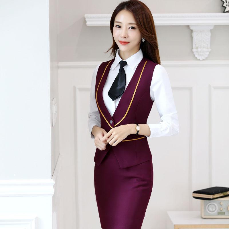 2 3 Piece Set Women Business Vest Suit Female Office Uniform Elegant Skirt Suits Las