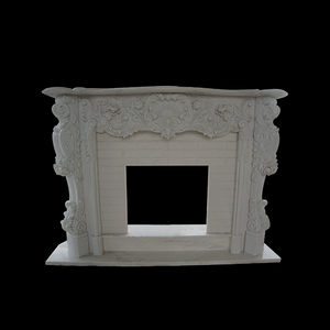 Hand carved large white marble freestanding artificial home fire place