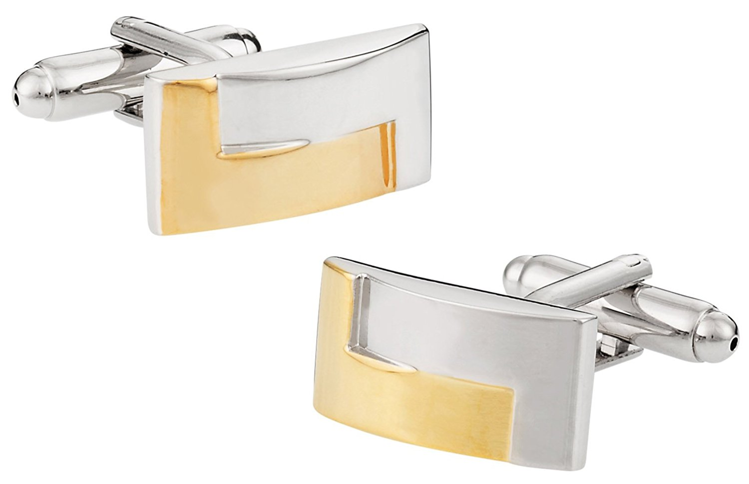 Cuff-Daddy Two-Tone Gold Silver Cufflinks with Presentation Box