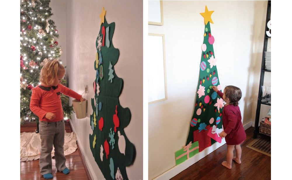 kids diy felt christmas tree with ornaments children christmas gifts for new year door wall