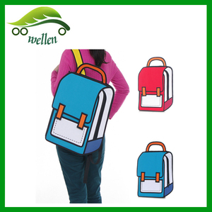 The second element stereoscopic 2D cartoon package bags