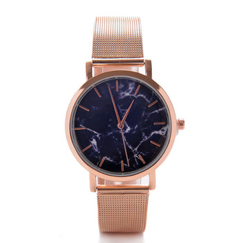 2018 New Arrival Custom Brand Watches Classic Marble Watches Women Rose Gold Plated Quartz Watches