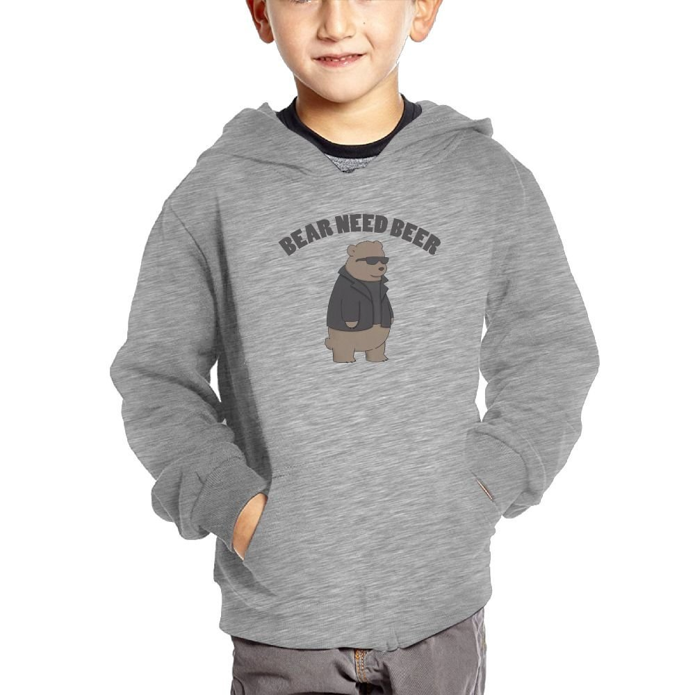 Bear Sunglasses Cartoon Boy Athletic with Pocket Hoodies Hot Tops Pullover Sweatshirts