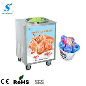 Hand stirring instant ice cream rolls machine