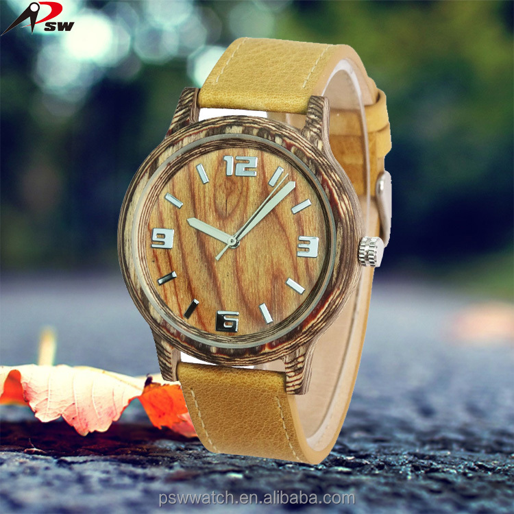 Technique wood high quality wooden watches 2016 waterproof leather