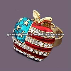 China Manufacturer Hot Sale Apple Shaped USA / America Flag Adjustable Ring