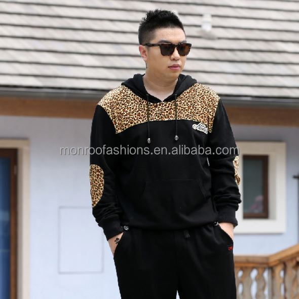 monroo Newly designed fashion men's leopard printed hoodies pluse size fat men's sweatshirt hoodies