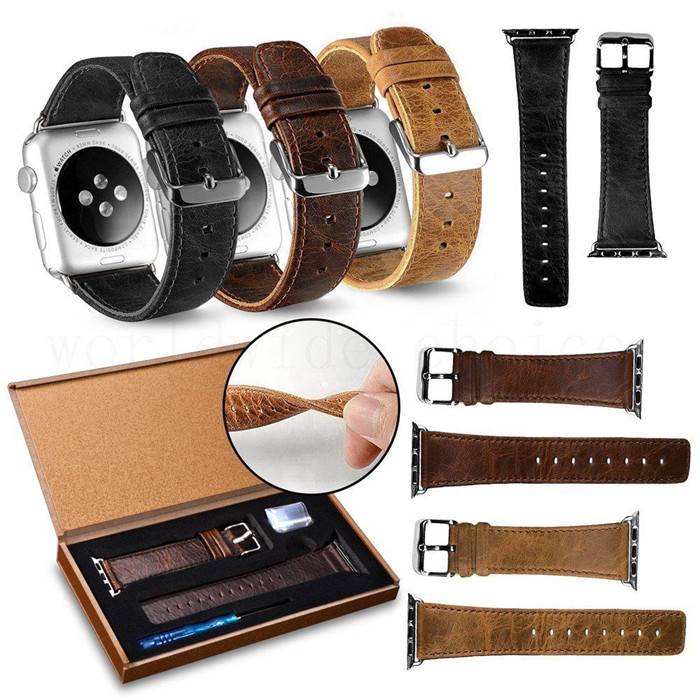 New arrival luxury Crazy horse leather watch strap for apple watch OEM/ODM
