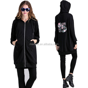 2017 Winter Zipper-Up Casual Hoodies Ladies Plus Size Sweater With Hood