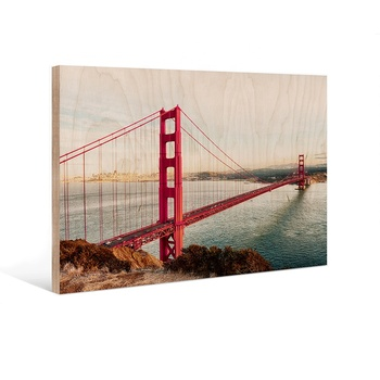 New Design Wall Art Custom Golden Gate Bridge Print on Wood for Home Decor