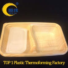 High grade plastic food container from full automatic negative and positive thermoforming machine take-away packaged lunch box