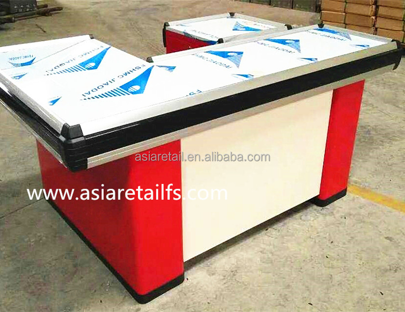 2017NEW India supermarket L U shape shop aluminum cash counter design