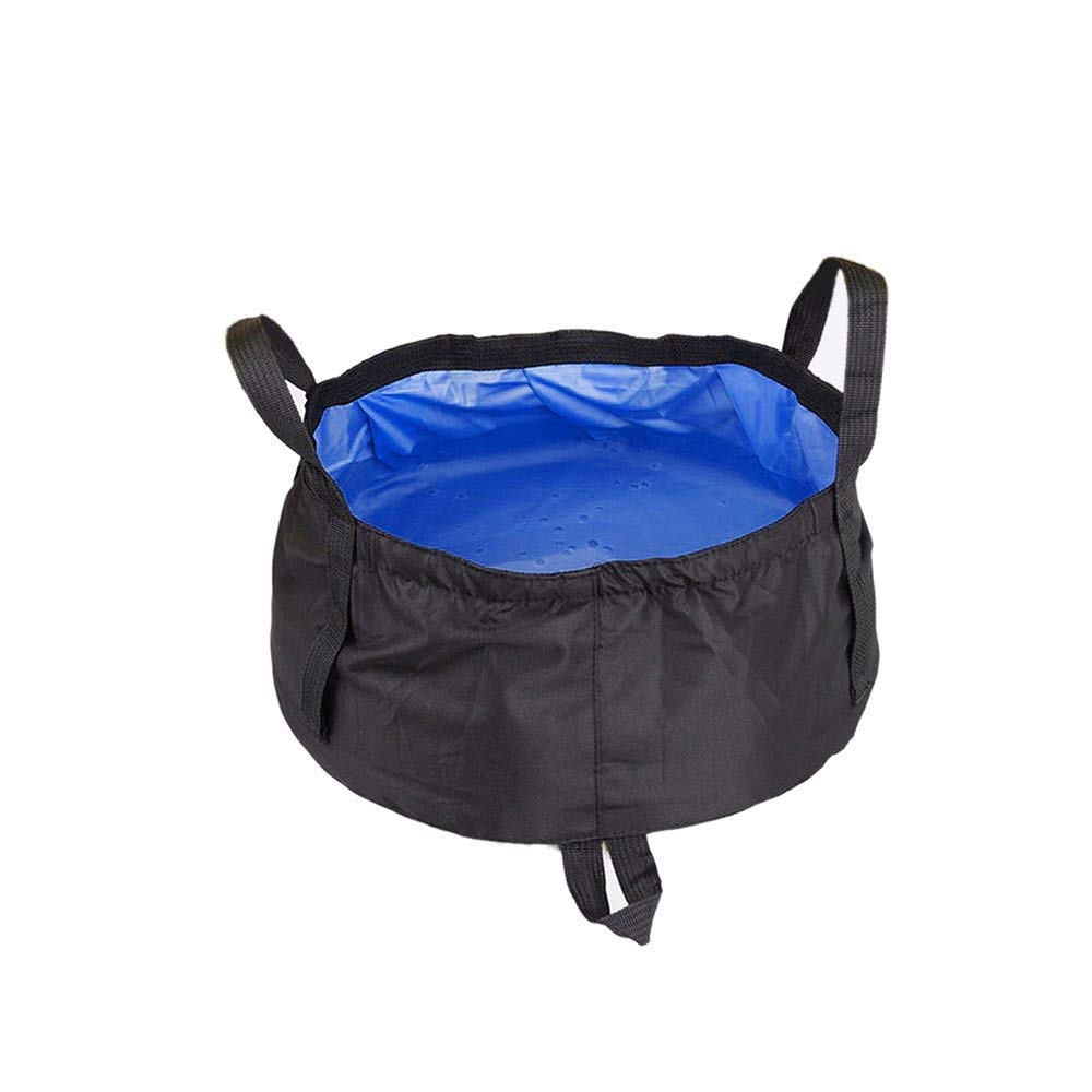 Tougs Collapsible Bucket with Mesh Pocket, Multifunctional Folding Bucket For Camping, Hiking & Travel,Car wash (Black(Deep blue inside))