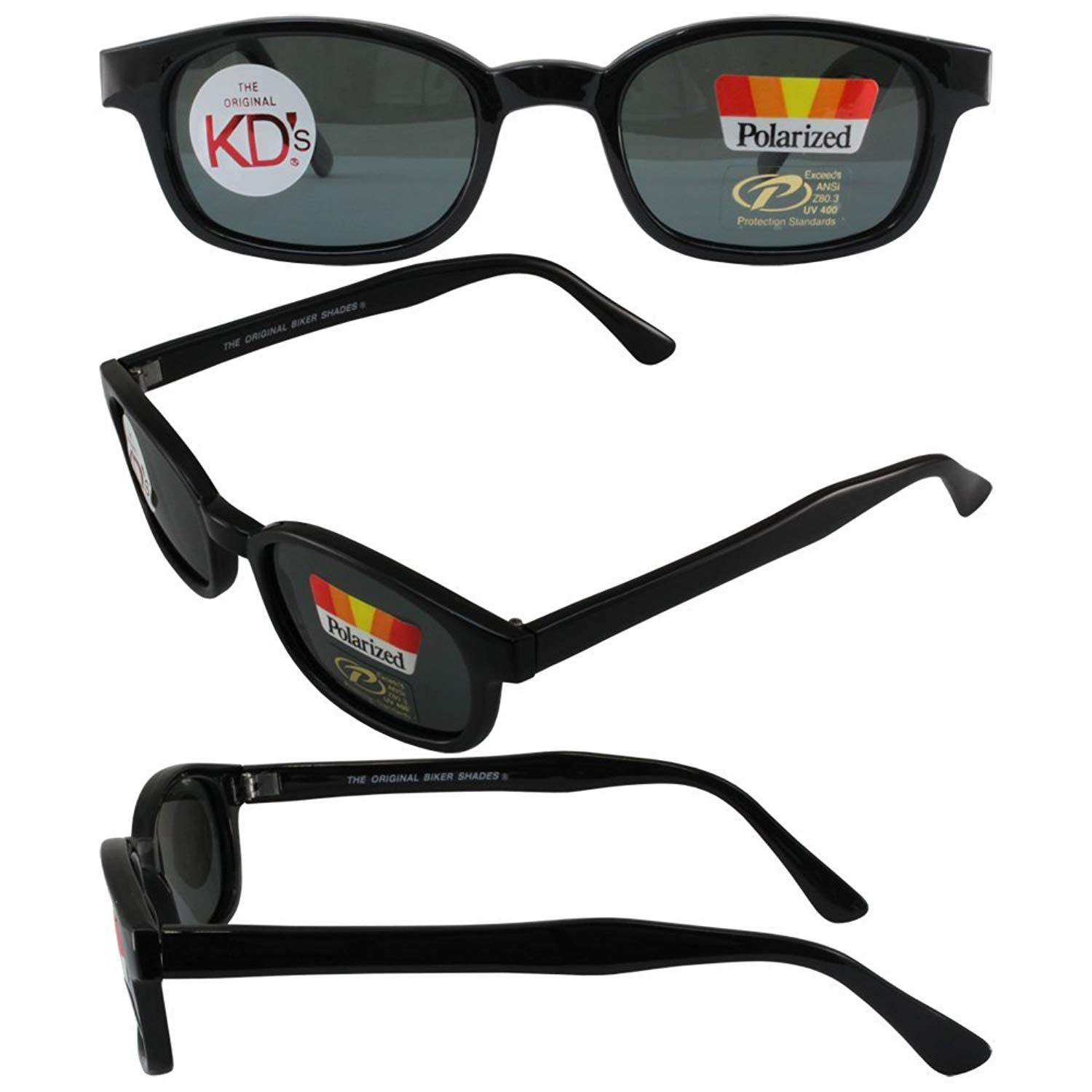 The Original X-KD's Biker Shades By PCSUN 20% Larger Black Frames Polarized Grey Lens