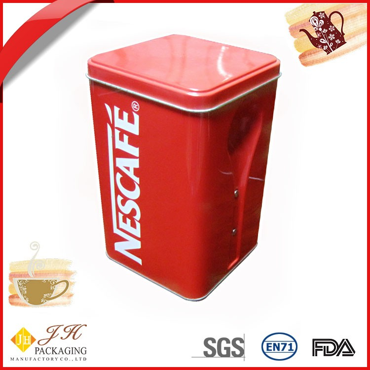 JH Attractive fashion square coffee cafe cocoa tin box