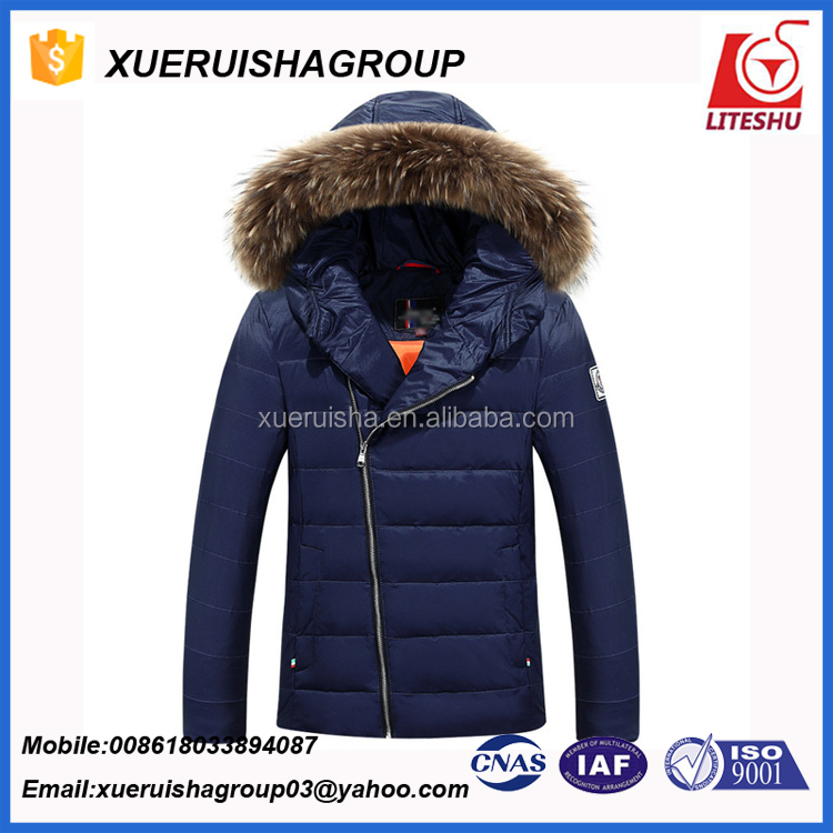 delicate popular inclined zipper designcold winter breathable down feather down padded jacket and apparel