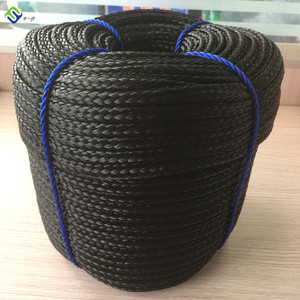 Black Color 16 Strands PE Hollow Braided Rope For Multifunction