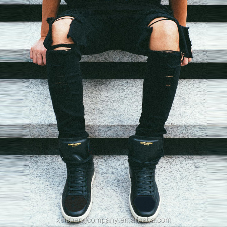 Custom ripped sexy men tight jeans slim fit stretch skinny street wear denim jeans
