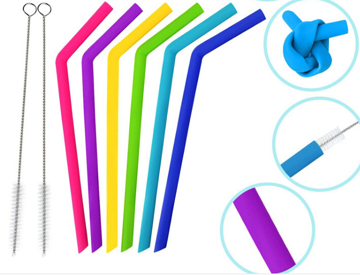 Top Quality Custom Smoothie Long Straws BPA Free Reusable Silicone Straws