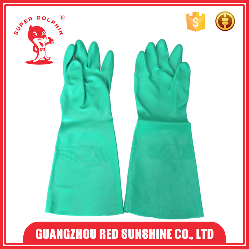 Green Oil Proof Long Nitrile Industrial Gloves