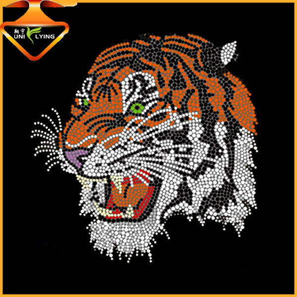 stable quality custom oem tiger rhinestone transfers
