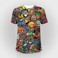 100% polyester 150gsm sublimation printing nba cartoon t shirt