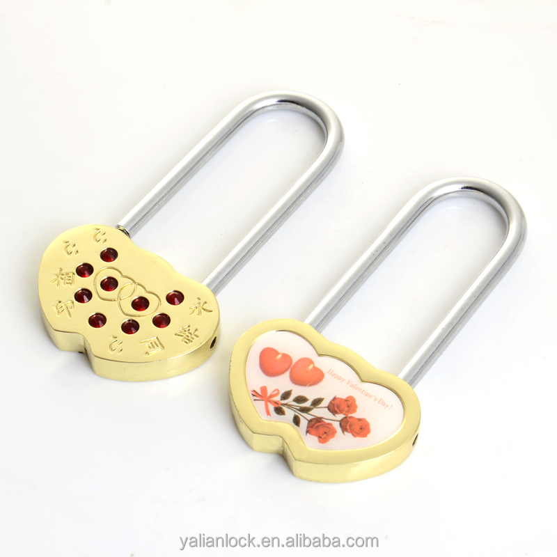 Double heart brass/ zinc alloy padlock
