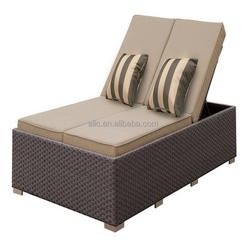Outdoor Double Chaise Lounger Sun Chair Orange Cushions Stone Brown Buy Folding Sun Lounger Chair Sun Bathing Chair Synthetic Rattan Outdoor
