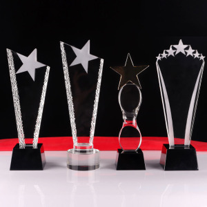 Wholesale different shapes crystal glass trophy awards plaque with custom logo engraved logo