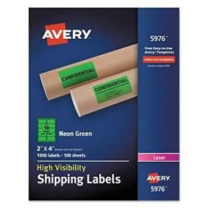 Avery Neon Shipping Label, Laser, 2 x 4, Neon Green, 1000/Box