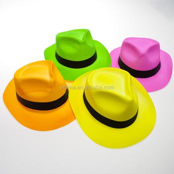 90f0a5ebd3b36 Elegante vestido de adultos carnaval fiesta neón gángster sombreros de  plástico de fedora sombreros HT2695