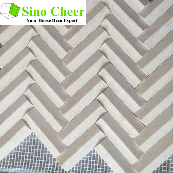 High quality herringbone marble mosaic 3d wall and floor tile
