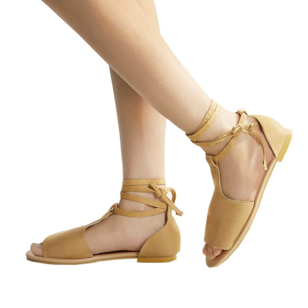 Women Sandals, Shybuy Women Girl Summer Peeptoe Bandage Beach Sandals Rome Casual Flat Sandals Shoes