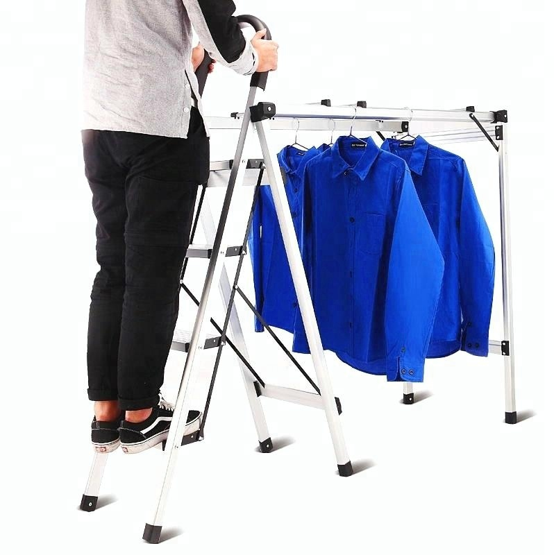 Aluminium folding step ladder with hanger for clothes