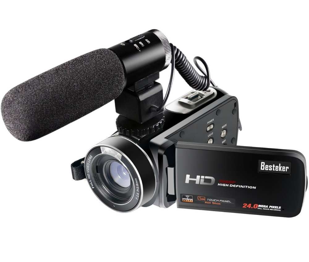 Wifi Camcorder Full HD 1080P 30FPS Portable Digital Video <strong>Camera</strong> with External Microphone (HDV-Z20) Excellent Quality