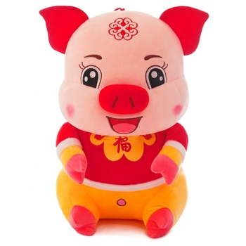 New year gifts plush toy lucky pig stuffed animal 2019 Chinese Lunar Calender OEM plush stuffed toy