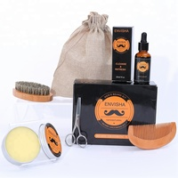 Wholesale Beard Grooming Gift Set With Beard Wax Wooden Brush Cloth Bag Beard Growth Grooming Care Kit For Men