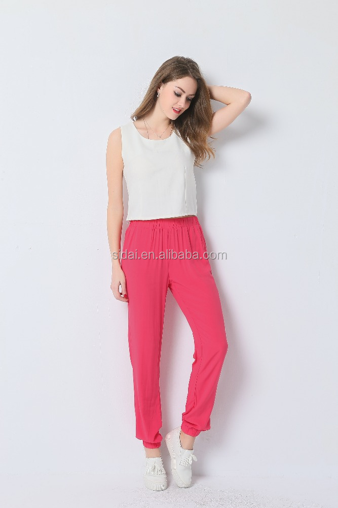 high fashionable elastic waistband solid viscose lady harem trousers